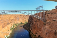 Glen Canyon Bridge with power transmission towers